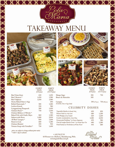 Lola Maria Restaurant TAKEAWAY MENU