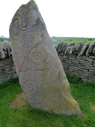 Carved Pictish Stone with symbols