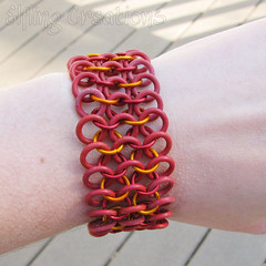 Stretchy Red and Orange Chainmaille Bracelet