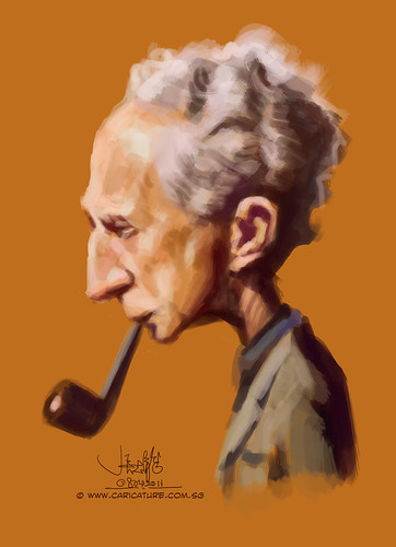 Digital caricature sketch study of Norman Rockwell