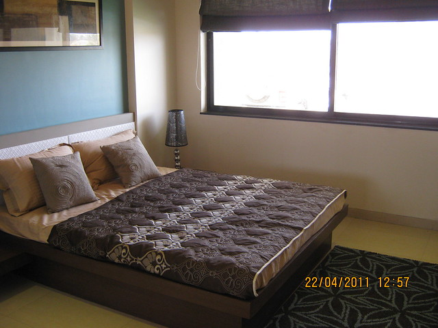 Bedroom in the sample flat of Park Springs - 2 BHK - 3 BHK Flats - Lohegaon Gram Panchayat - Dhanori - Pune 411 032 - By Pride Purple Group & Rainbow Housing