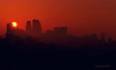 Hazy Easter Sunrise (Doug Wallick) Tags: light minnesota silhouette skyline sunrise easter downtown sunday minneapolis overpass pedestrian pole interstate 394 hazy picnik lightroom a230 explored platinumheartaward mygearandme mygearandmepremium mygearandmebronze mygearandmesilver