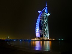 Burj Al Arab, Dubai -    (Sir Francis Canker Photography ) Tags: world trip travel blue panorama reflection tower art tourism monument skyline architecture night skyscraper island dubai desert muslim islam dune uae middleeast landmark visit icon tourist best palm arabic emirates burjalarab nocturna desierto lightning arabian grattacielo thunder unitedarabemirates impressive gcc islamic jumeirah persiangulf rascacielos wolkenkratzer lucena tallestbuilding emea gratteciel burjdubai        sirfranciscankerjones  7starshotel tz10 burjkhalifa zs7 pacocabezalopez