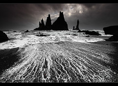 The Pinnacles - Reynisdrangar near Vk, Iceland (orvaratli) Tags: ocean sea seascape beach landscape lava iceland sand atlantic vk reynisdrangar visipix