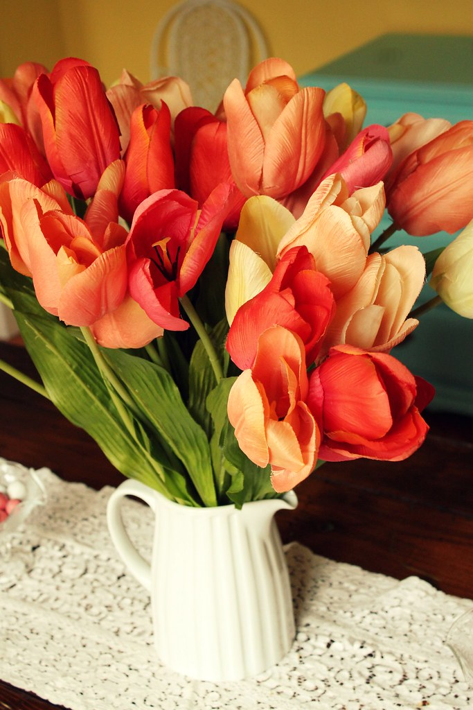 pitcher of silk tulips