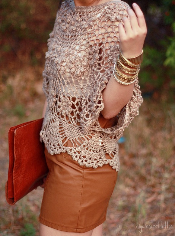 urban outfitters leather brown skirt, lulu's crochet top, random tank underneath, asos envelope leather clutch, forever 21 gold bangles, thrifted bakers pumps, austin fashion, austin street style, austin texas