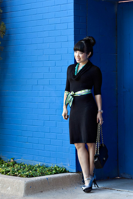 express black cowl dress eshakti turquoise necklace guess silver mary jane pumps chanel lambskin quilted purse
