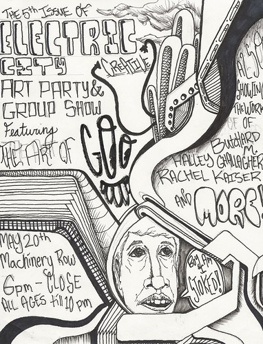 Electric City Creative Art Party + Group Show flyer by GOO