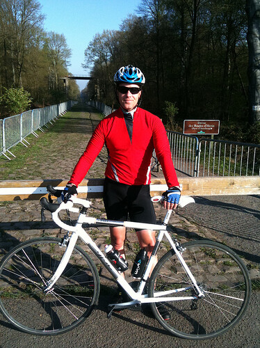 Gerry Patterson prepares to take on the cobbles of the Paris-Roubaix at Arenberg. Photo: Pavé Cycling Classics