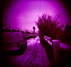 St Peters Rise (b4be) Tags: trees white snow signs cars 120 home bristol holga lomo xpro snowy steps roads van footpath 2009 fujiastia100 headleypark bishopsworth february2009