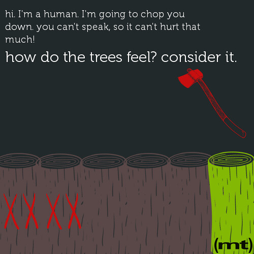 Consider how the trees feel.