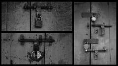 i am closed....  hmph! (TriggerHappyMe) Tags: keys mono doors locks roadside mumbai monocrome chorbazaar
