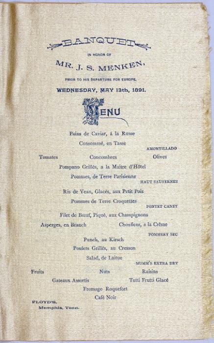 1891 menu for banquet at Floyd's Restaurant, Memphis, Tenn.