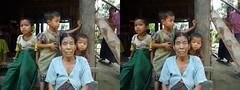 Chin village in Arakan state, Myanmar stereo photo (parallel) (Stereomania) Tags: tattoo asia village burma traditional myanmar birma chin stretchedears azie mrauku arakan facialtattoo