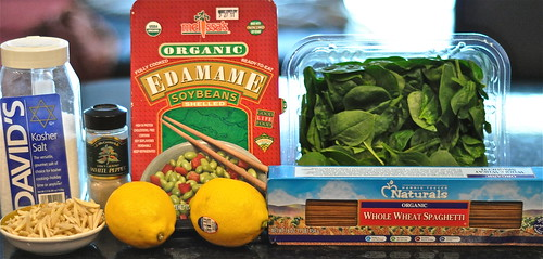 ... Mondays: Lemony Pesto Pasta with Spinach, Edamame, and Toasted Almonds