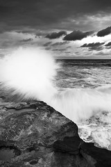 """Incoming"" (Luke Peterson Photography) Tags: blackandwhite bw wet water rocks wave 7d splash cronulla gnd nd8 p121m"
