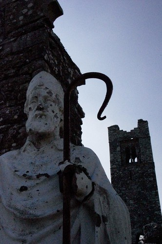 St Patrick statue at Abbey ruins