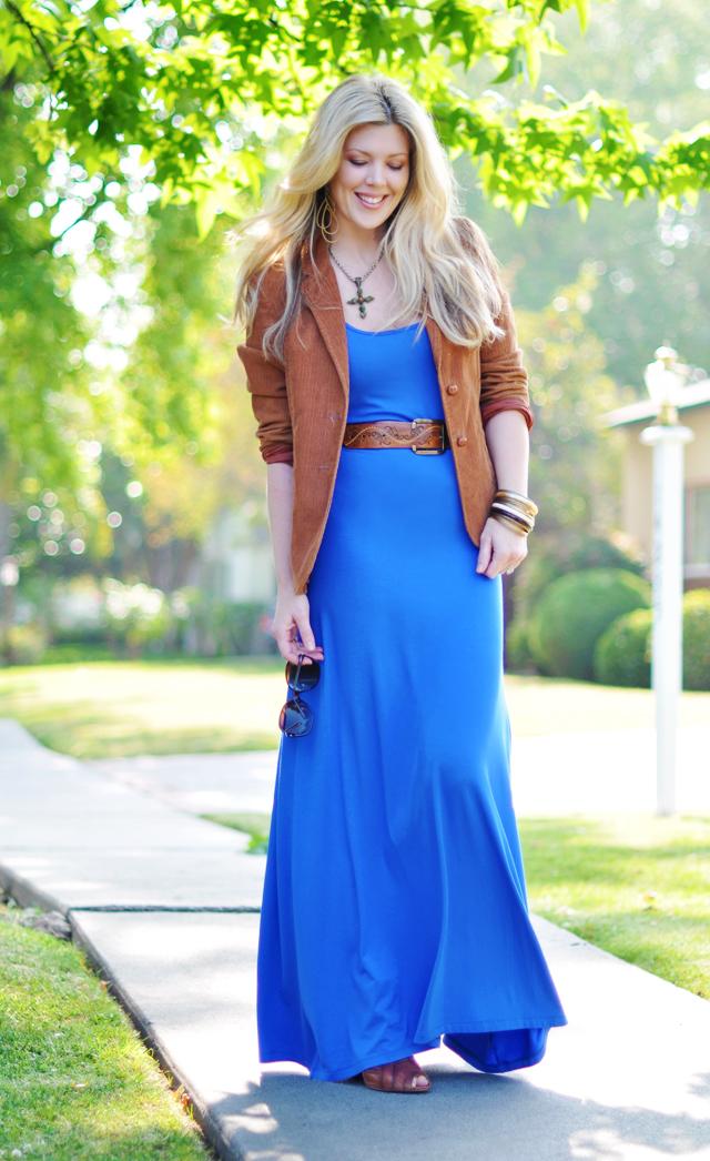 Blue Jersey Maxi dress +  Cognac corduroy blazer