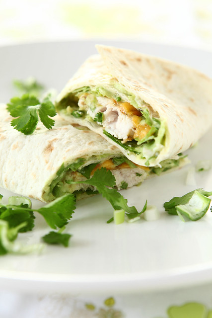 a quick wrap with grilled chicken + cheddar and creamy avocado