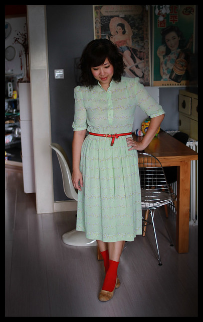 Vintage Dress + Red & Tan