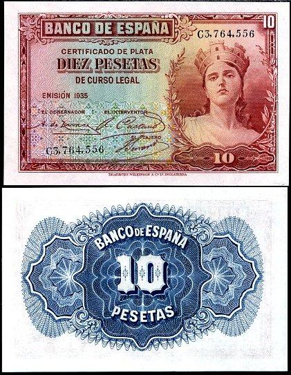 10 Pesetas Španielsko 1935, Pick 86