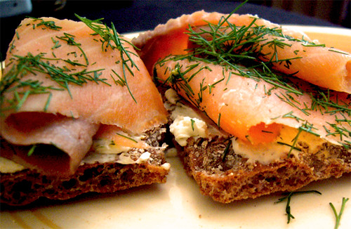 Sweet Bordeaux and Smoked Salmon on Swedish Bread