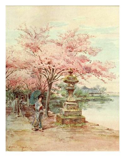 007-Flores de cerezo y linterna de piedra en el parque Ueno-Japanese gardens 1912-Walter Tyndale