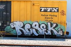 RESEK (KNOWLEDGE IS KING_) Tags: color art car yard train bench one graffiti paint tracks railway sunny canvas socal boxcar polar burner bomb 2009 freight rolling spraycan wh tbox ttx resek railpool