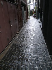 Alley on rainy day.