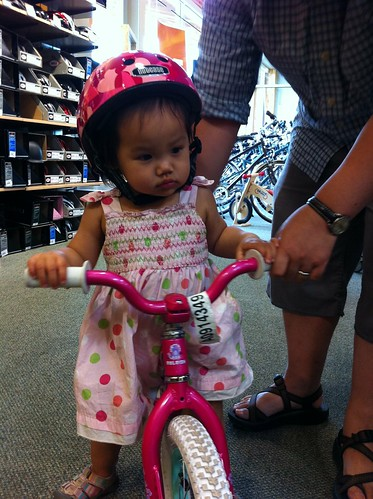 Trying on helmets and bikes at REI