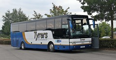 TYR 12R, Tyrers Van Hool bodied coach, Cheltenham Racecourse, 18th. September 2016. (Crewcastrian) Tags: cheltenham tyrers transport buses coaches vanhool tyr12r