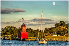20160922-The End of the Day-001a 800 (Images by Arnie) Tags: lakemichigan ottawabeach ottawacounty bigred holland hollandstatepark lake water sunset sailboats moon relax relaxing golden sky lighthouse autumn fall imagesbyarnie imagesbyarniebracy michigan mi