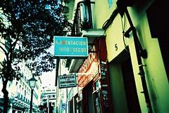 Madrid (cranjam) Tags: lomo lomography lca film slide xpro fuji fujifilm velvia50 madrid spain spagna sign cartello alimentacionfrutossecos lamparasysuscomponentes