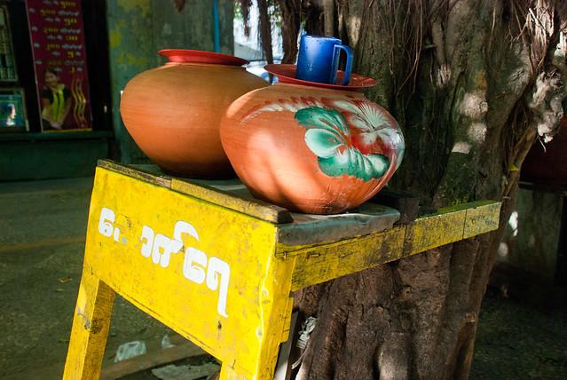 Public water jugs, Yangon, Myanmar