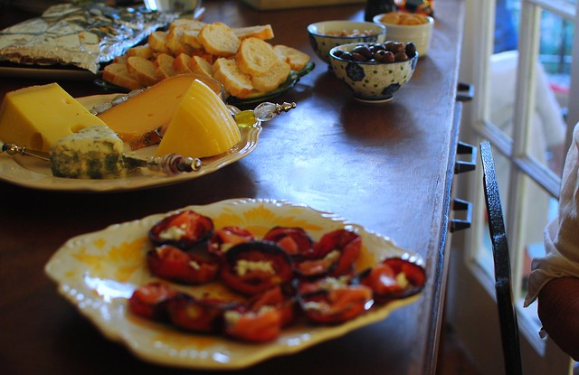 tomato boats, cheese, bread, olives, almonds, etc, etc
