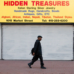 hidden treasure (bhautik joshi) Tags: sf sanfrancisco california delete10 delete9 delete5 delete2 words boots delete6 walk delete7 candid delete8 delete3 delete delete4 save save2 walker storefront backpack beret fromthehip allblack sfist shuttered hiddentreasures 2011 bhautikjoshi