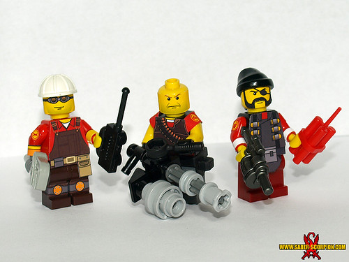 Custom minifig LEGO TF2: Engineer, Heavy, Demoman