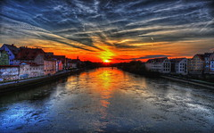 Sun sets over the river danube in Regensburg (1982Chris911 (Thank you 3.000.000 Times)) Tags: old city bridge sunset sun reflection water clouds canon germany mirror high exposure dynamic christian mk2 5d regensburg range dri 1740mm danube hdr highdynamicrange hdri donau canoneos5d photomatix lglass canonphotography canonllens hdrphotography hdrpictures canoneos5dmarkii canon5dmkii 5dmarkii canon5dmark2 5dmark2 canon5dmarkii eos5dmarkii krieglsteiner 1982chris911 christiankriegl