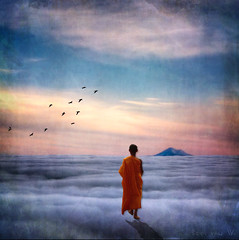 welcome in tibet (Eddi van W.) Tags: light texture love magic digitalart gimp monk tibet textures creativecommons spirituality spiritual healing eddi kreativitt spiritualitt idream ffnung