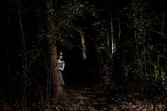 dark woods no.2 (Megan Snider) Tags: blue feet night dark woods alone dress blind barefoot blindfold