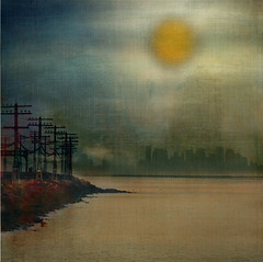 Along Towards Morning (Mary Ann Reilly) Tags: morning sun clouds photography traintracks hudsonriver poles diffused nymixedmedia