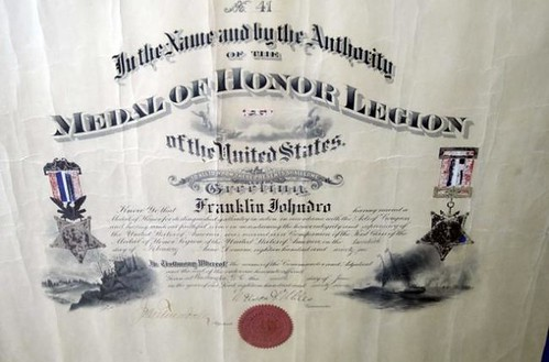 Medal of Honor Certificate Franklin Johndro