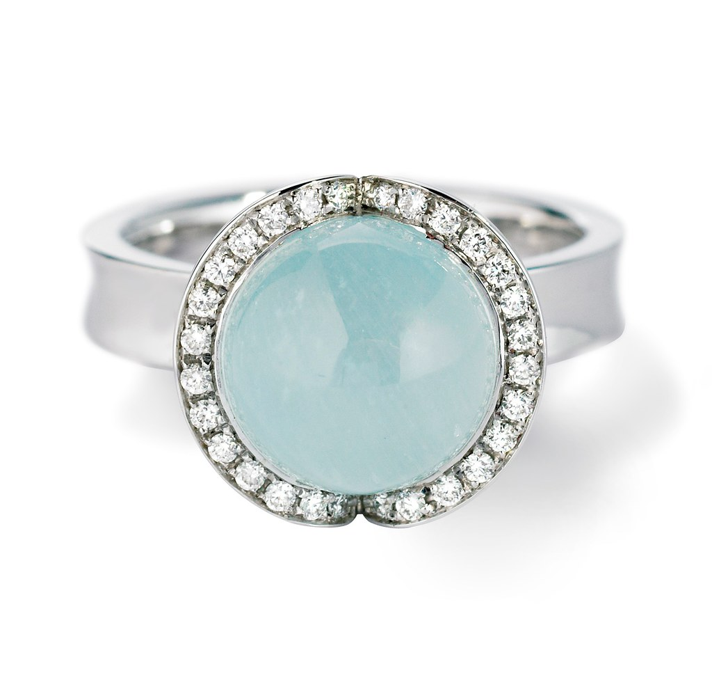 Celestial Ice 18ct White Gold Aquamarine and Diamond Cocktail Ring