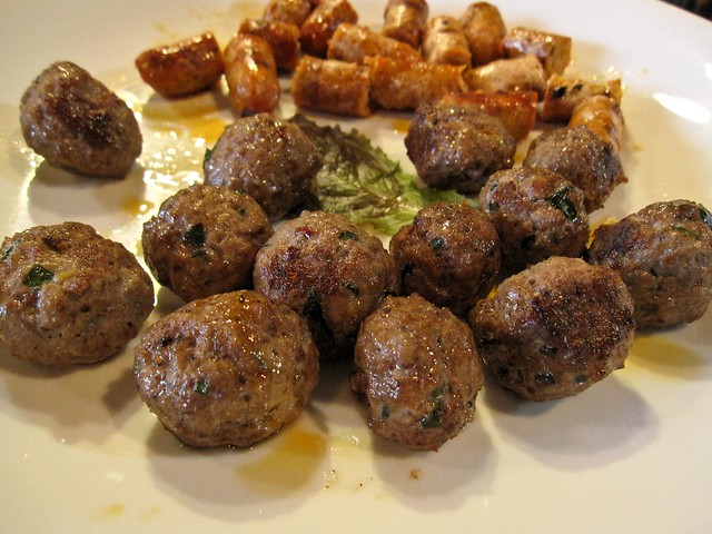 Italian style meatballs and spicy grilled lamb sausage