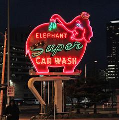 Elephant Super Car Wash (skipmoore) Tags: seattle elephant sign neon carwash