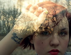 (EyeSeeTheWorld) Tags: light red portrait sky woman selfportrait tree me nature girl face silhouette tattoo lady female forest self hair woods exposure hand bright quote overlay lips multipleexposure layer multiple wrist mole beautymark