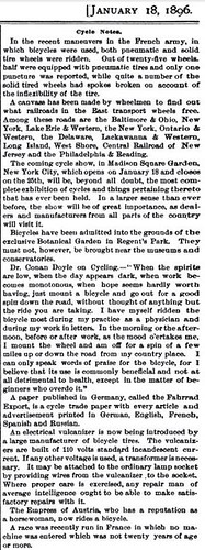 Scientific American, January 18, 1896, Cycling column, pt 1