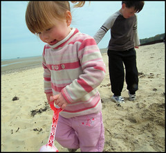 Fun on the beach (way19) Tags: park sea castle beach water stone bucket jump sand friend child play slide mum isleofwight sit bathe nan dig spade sunbathe appley