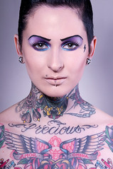 (drifs) Tags: lighting portrait woman eye girl beauty face fashion rock tattoo studio women dish femme flash makeup piercing figure capture mode fille maquillage strobe visage eclairage regard tatouage ehrhardt strobist drifs