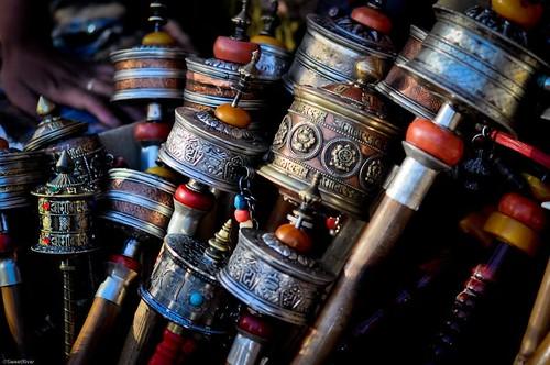 Tibet prayer wheels